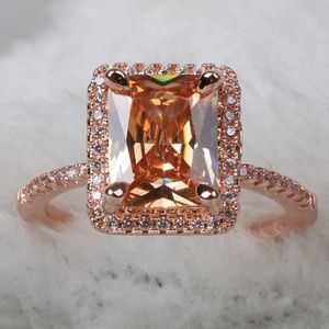 18K rose gold plated diamond ring